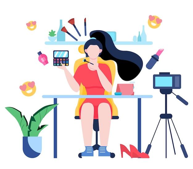 Illustration des video-blogging-konzepts. idee von kreativität und inhalt, moderner beruf. charakteraufzeichnungsvideo mit kamera für ihren blog.