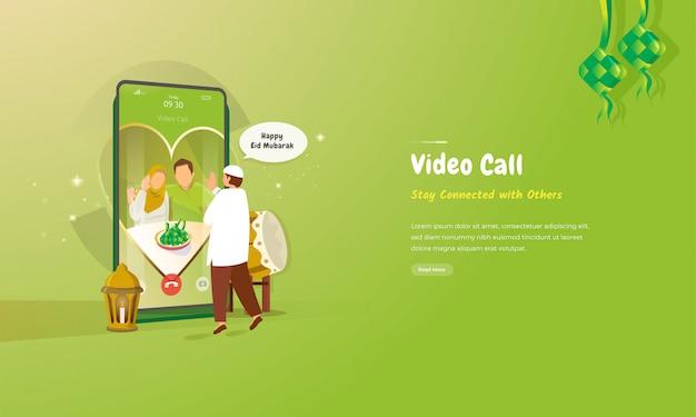 Illustration des videoanrufkonzepts für islamische eid al-fitr grußkarte