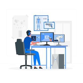 Illustration des videospielentwicklerkonzepts
