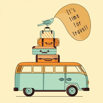 Illustration des vintagen busses mit gepäck