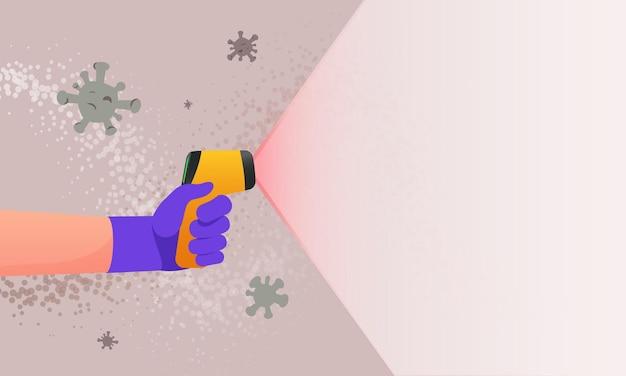 Illustration des virus zur erkennung von temperaturmessungen. hand hält infrarot-thermometer