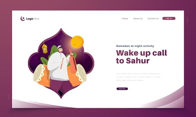 Illustration des weckrufs während der ramadan-nacht für sahur oder frühes essen Premium Vektoren