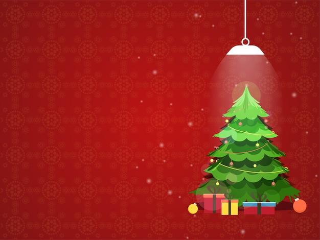 Illustration des weihnachtsbaumes mit kugeln