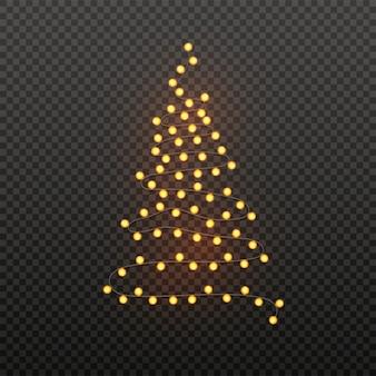 Illustration des weihnachtsbaums gemacht durch das beleuchten der girlande auf schwarzem transparentem. plakat für weihnachten.