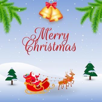 Illustration des weihnachtsmann-reitrenschlittens mit klingelglocke und kiefer verlässt auf winterlandschaft für feier der frohen weihnachten.