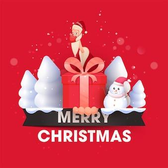 Illustration des weihnachtsmannes, der sicherheitsmaske mit geschenkbox trägt