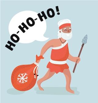 Illustration des weihnachtsmannes in der prähistorischen ära tragetasche mit frohen weihnachtsgeschenken.