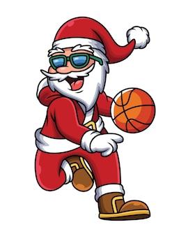 Illustration des weihnachtsmanns, der basketball spielt