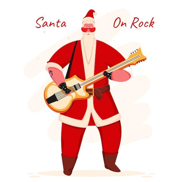 Illustration des weihnachtsmanns, der gitarre in der stehenden pose spielt.