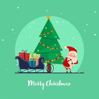 Illustration des weihnachtsmanns, der seil der geschenkschlitten hält
