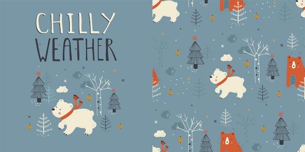 Illustration des weißen eisbären mit nahtlosem muster des winterwaldes hand gezeichnet