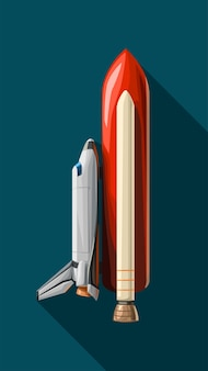 Illustration des weißen shuttle mit roter booster-seitenansicht mit schatten auf blau