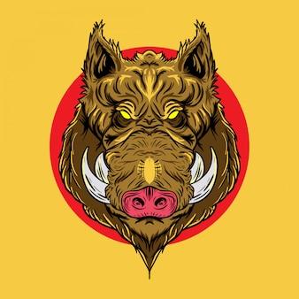 Illustration des wildschweinkopfes im japanischen entwurfsstil