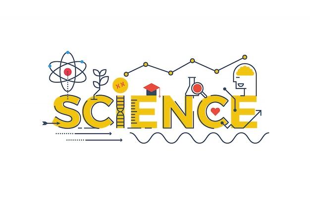 Illustration des wissenschafts-wortes in stem - wissenschaft, technologie, technik, mathematik