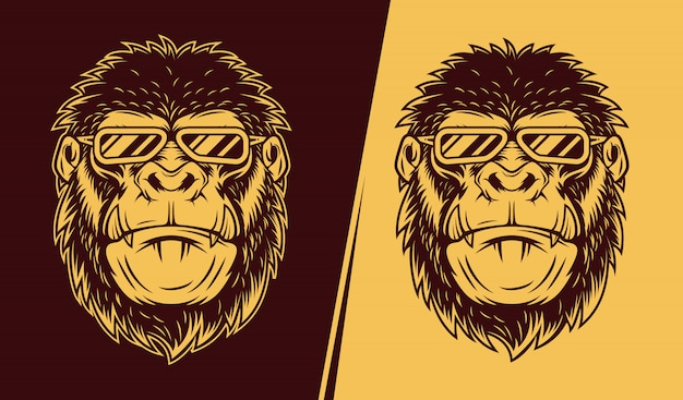 Illustration des wütenden gorillas, der brille trägt