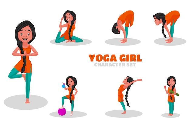 Illustration des yoga-mädchen-zeichensatzes