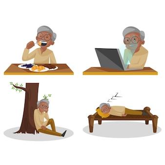 Illustration des zeichensatzes des alten mannes