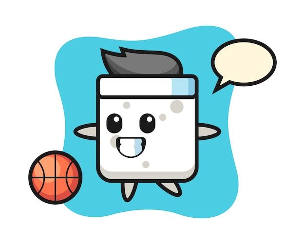 Illustration des zuckerwürfel-cartoons spielt basketball, niedlichen stil für t-shirt, aufkleber, logoelement
