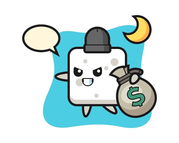 Illustration des zuckerwürfel-cartoons wird das geld gestohlen, niedlicher stil für t-shirt, aufkleber, logoelement
