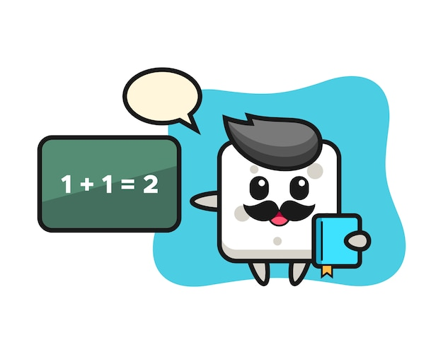 Illustration des zuckerwürfelcharakters als lehrer, niedlicher stil für t-shirt, aufkleber, logoelement