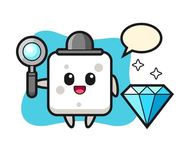 Illustration des zuckerwürfelcharakters mit einem diamanten, niedlicher stil für t-shirt, aufkleber, logoelement