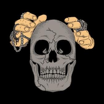 Illustration design menschlichen schädel und zauberer hand premium