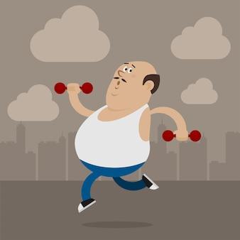 Illustration dicker mann geht zum sport, format eps 10