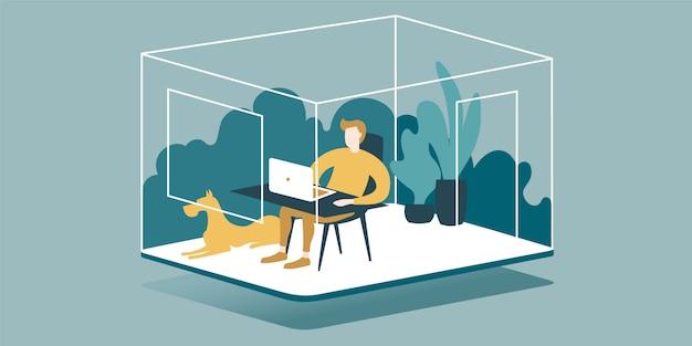 Illustration, die zu hause die vorteile der fernarbeit eines freiberuflers zeigt