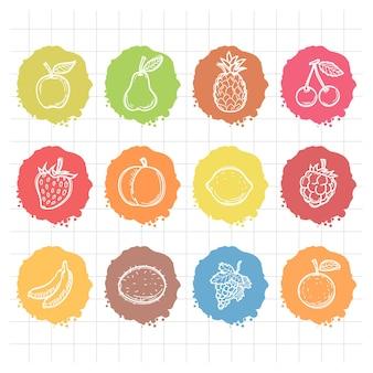 Illustration doodle gezeichnete ikonenfrüchte, format eps 10