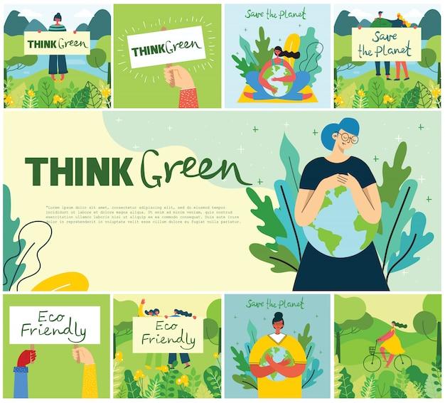 Illustration eco hintergründe des konzepts der grünen öko-energie und des zitats rette den planeten, denke grün im flachen stil