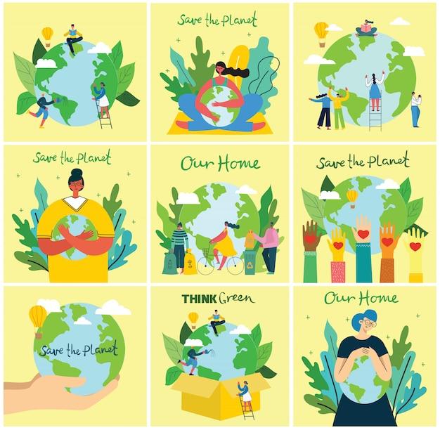 Illustration eco hintergründe des konzepts der grünen öko-energie und des zitats rette den planeten, denke grün