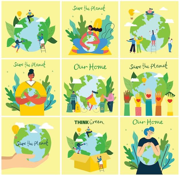 Illustration eco hintergründe des konzepts der grünen öko-energie und zitat speichern sie den planeten, denken sie grün und abfall recyceln