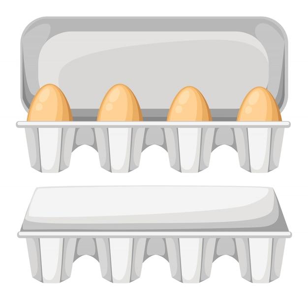 Illustration eierkarton mit braunen frischen hühnereiern. eierbehälter öffnen und schließen. auf weißem hintergrund.