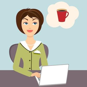 Illustration einer attraktiven jungen sekretärin, die an ihrem schreibtisch sitzt und an einem laptop arbeitet