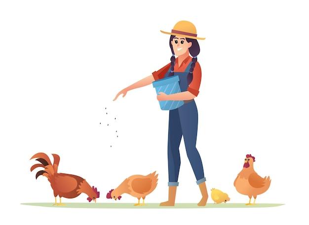 Illustration einer bäuerin, die hühner füttert
