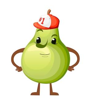 Illustration einer birne. süßes fruchtmaskottchen. springende birne mit baseballkappe nummer 1. abbildung auf weißem hintergrund. website-seite und mobile app.