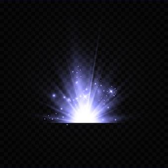 Illustration einer blauen farbe. glühender lichteffekt. vektorillustration. weihnachtsblitz. staub, strahlende sonne, heller blitz.