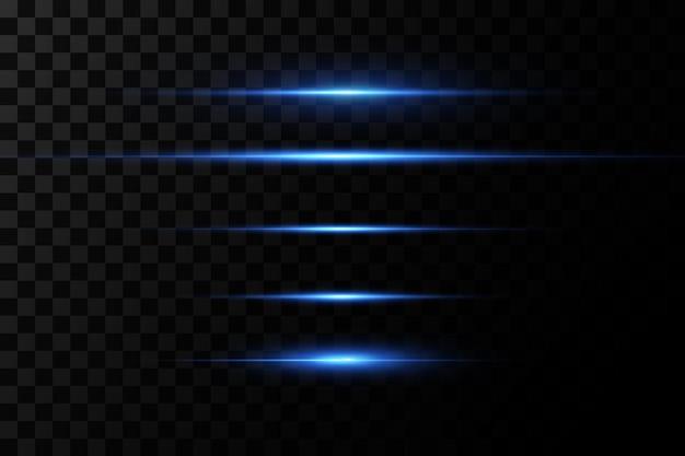 Illustration einer blauen farbe. lichteffekt. abstrakte laserstrahlen des lichts. chaotische neonlichtstrahlen.