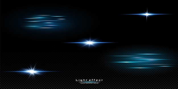 Illustration einer blauen farbe. reihe von lichteffekten. blitze und blendungen. helle lichtstrahlen. leuchtende linien. vektorillustration. weihnachtsblitz. staub.
