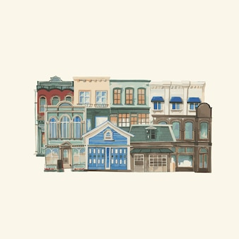 Illustration einer europäischen Stadt der Weinlese, die Außenwasserfarbart errichtet