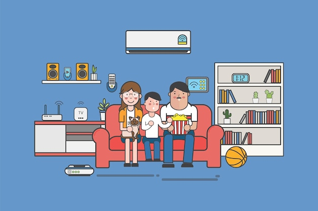 Illustration einer familie, die zu hause fernsieht
