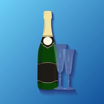 Illustration einer flasche champagner und gläser für ihre kreation