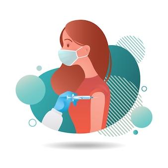 Illustration einer frau mit gesichtsmaske, die isoliert auf weißem hintergrund geimpft wird