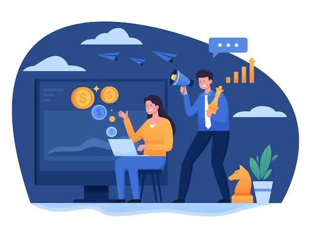Illustration einer frau und eines jungen, die in ein megaphon für eine werbekampagne für digitales marketing schreien