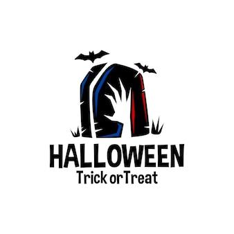 Illustration einer grabstein-zombie-hand und fledermäuse halloween-vektor-logo-illustration-horror-vektor