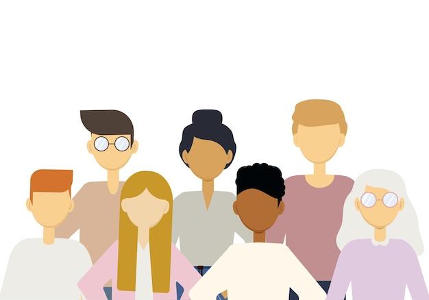 Illustration einer großen anzahl von menschen verschiedener nationalitäten. bevölkerung der erde