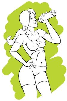 Illustration einer hübschen frau trinkwasser
