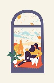 Illustration einer jungen frau, die am fenster sitzt und tee oder kaffee trinkt. herbstsaison konzeption.
