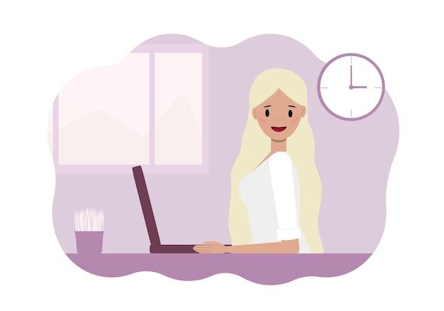 Illustration einer jungen frau, die an einem laptop arbeitet.