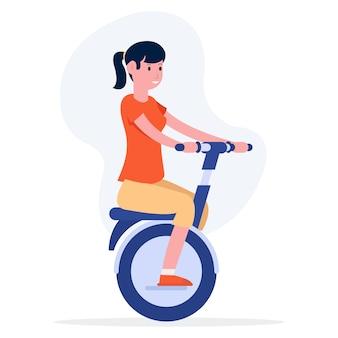 Illustration einer jungen frau, die ein elektrisches fahrrad am nachmittag reitet.